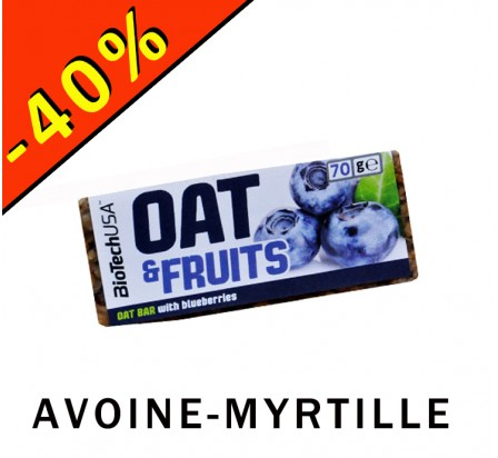BIOTECHUSA OAT & FRUITS barre céréales flocons d'avoine/myrtille 70gr