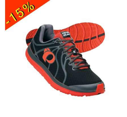 PEARL IZUMI chaussure running neutre EM ROAD N2 noire/rouge homme