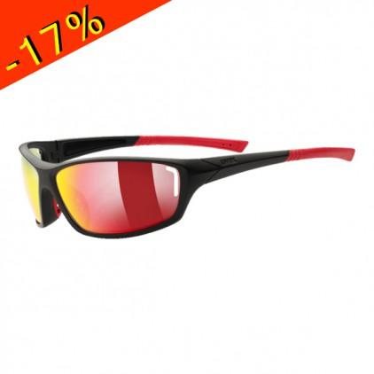 Uvex lunette sportstyle 210 monture noire rouge verre for Verre miroir lunette