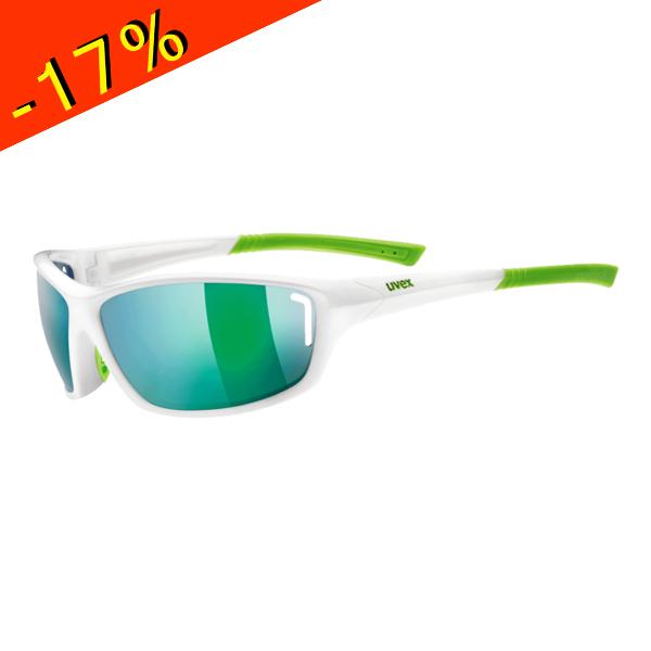 Uvex lunette sportstyle 210 monture blanc vert verre for Verre miroir lunette